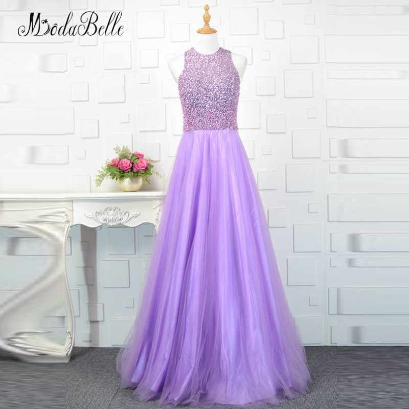 9fb2c1f1 modabelle Lilac Light Purple Beaded Prom Dress Sequin Pearls Sleeveless  Tulle Graduation Party Dresses Long Evening