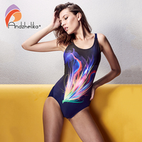 Andzhelika 2017 Sports One Piece Suit Hollow Out Swimsuit Print Bodysuit Swimwear Summer Beach Wear High