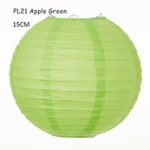 6inch=15cm 5pcs/lot Apple Green Round Rice Paper Lamps Lanterns Hanging Balls Christmas Holiday Parties Wedding Home Decorations