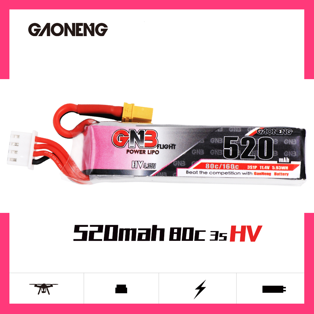 Gaoneng GNB 520mAh 11.4V Lipo Battery 80C 3S HV 4.34V RC Battery XT30 Plug For RC Racing FPV Drone RC Multicopter Accessories