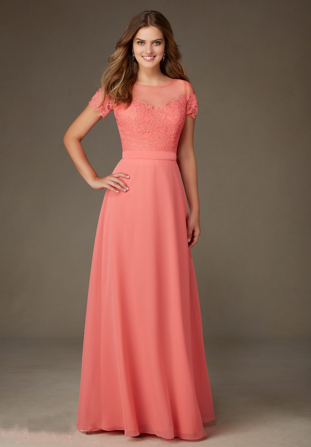 Coral Bridesmaid Dress Adorable Floor-Length Top Lace Sheer Back Chiffon Vestido Madrinha Peach Wedding Dress For Maid Of Honor