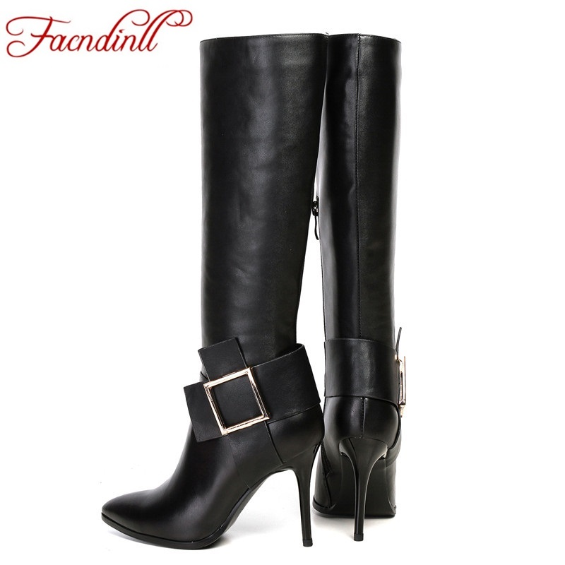 FACNDINLL fashion woman knee high boots real leather bow tie zipper casual boots black high heels winter boots for woman 34-43 woman real leather boots 2015 new winter boots black apricot zipper fashion martin boots 34 39 comfortable women knee high boots