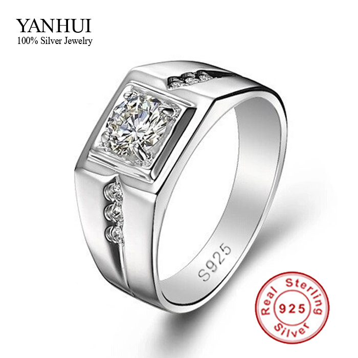 fine jewelry men ring 925 sterling silver wedding rings for men 05 carat cz diamant men engagement ring jzr056 in rings from jewelry accessories on - Cheap Sterling Silver Wedding Rings