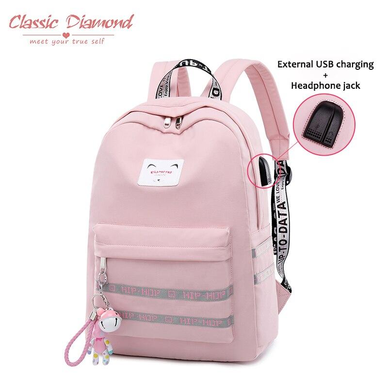 купить Classic Diamond Women Waterproof Backpacks Female Rucksack Large School Bag for Sweet Girls Teenager 15.6