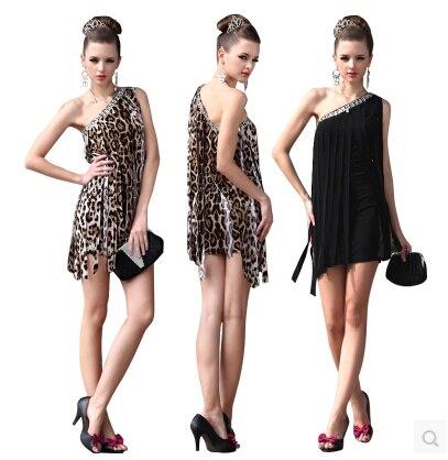 LGF Female clothing Brand fringed Shoulder oblique leopard Miniskirt sexy package hip Nightclub Slim Bar Clothing