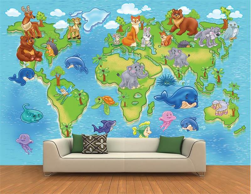 3d photo wallpaper custom mural room non-woven cartoon aninal world map painting picture 3d wall murals wallpaper for walls 3d 3d wallpaper custom photo wallpaper non woven wallpaper spring come animal world tv backwall living room bedding room 3d murals