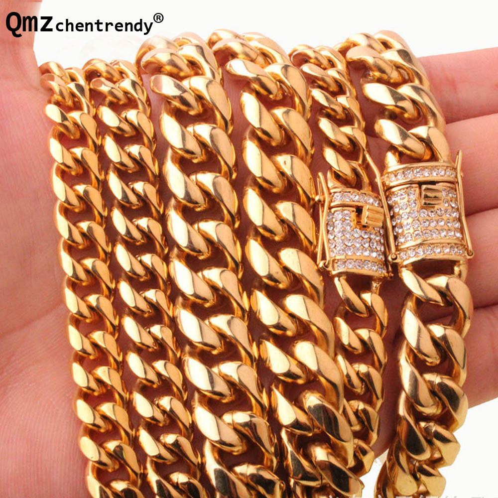 10/14mm Men Cuban Miami Link Necklace Stainless steel Rhinestone Clasp Iced Out Gold Silver Hip hop casting Chain Necklace 8mm 10mm 12mm 14mm stainless steel curb cuban link chain hip hop punk heavy gold silver plated cuban necklace for men