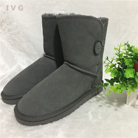 Hot Australian Style Women Snow Boots Bailey Button Leather Boots Warm Winter Outdoor Woman shoes Plus Size US4 13