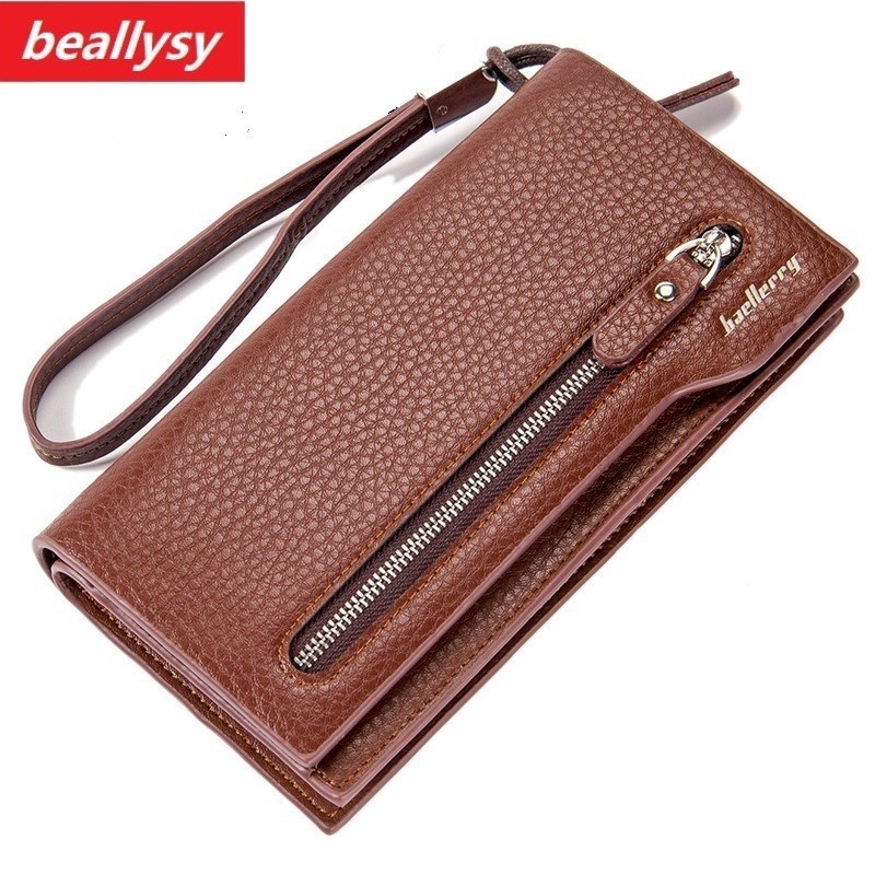 long Split top Leather Men wallet double zipper Male Purse Monederos Carteras Mujer coin card phone clutch Bag with wrist strap