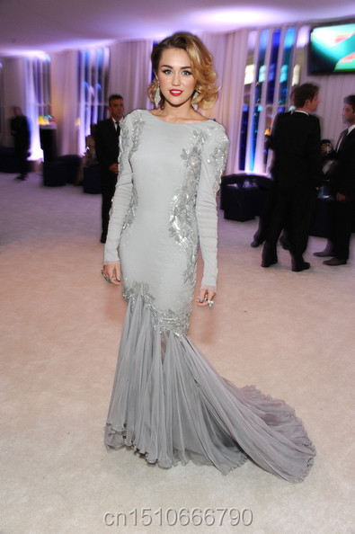 Miley Cyrus Silver Long Sleeves Silver Mermaid embroidery tulle ...