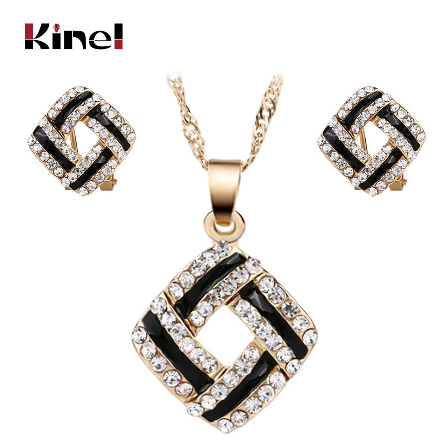 Luxury Indian Jewelry 2pcs Sets Gold Color Black Enamel Necklaces And Earrings Inlaid Artificial Zircons Engagement Gift