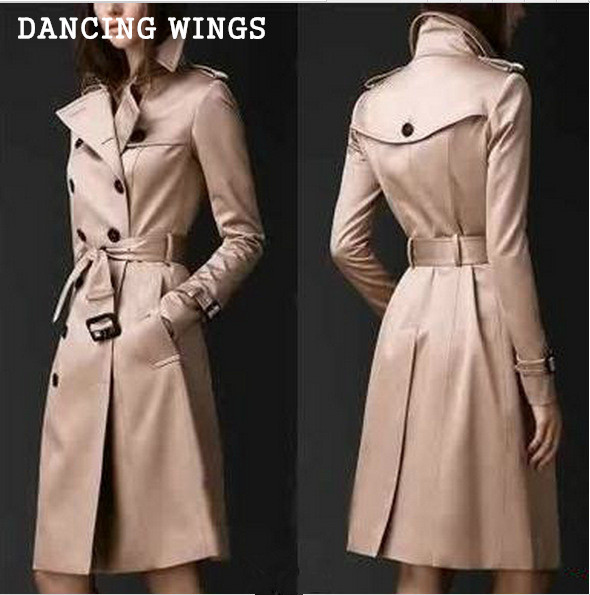 british style women's double-breasted   trench   coat medium long loose slim women's windbreaker plus size 3xl