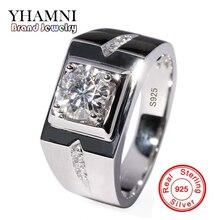 YHAMNI Luxury Original 925 Silver Rings for Men Set 6mm 1 Carat Diamant Engagement Wedding Rings For Mens Fine Jewelry NJZ009