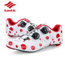 PRO Carbon Fiber Road Cycling Shoes Red Spot Road Bike Shoes Rotate Buckle Bicycle Shoe Zapatillas Ciclismo Men Santic