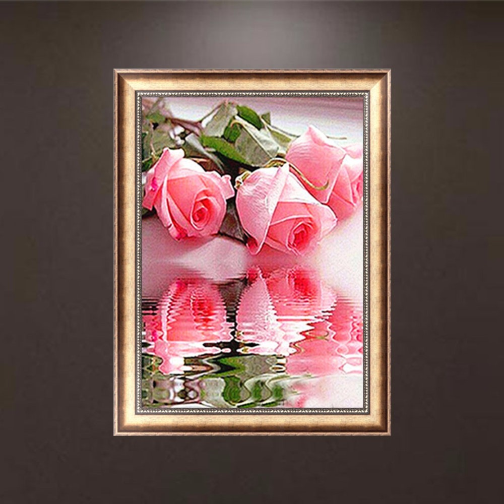 Diy 5d Diamond Switch Kit Embroidery Pink Roses Painting Mosaic Needlework Cross Stitch Home