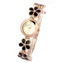Style Informal Costume Watches Girls Women Daisies Flower Rose Gold Bracelet Wrist Watch Present montre femme relojes mujer