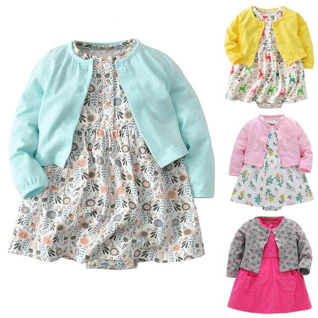 5da6a55d89554 Bébé 6-24 mois fille à manches longues robes body veste 3 pièces doux bebes