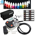 OPHIR Airbrush Nail Art Set 0.3mm Airbrush Kit with Air Compressor 12 Color Inks 20x Stencils Brush & Bag Nail Tool _OP-NA001