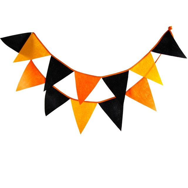 2 8m 12 Flags Orange And Black Banner Pennant Cotton Bunting Banner