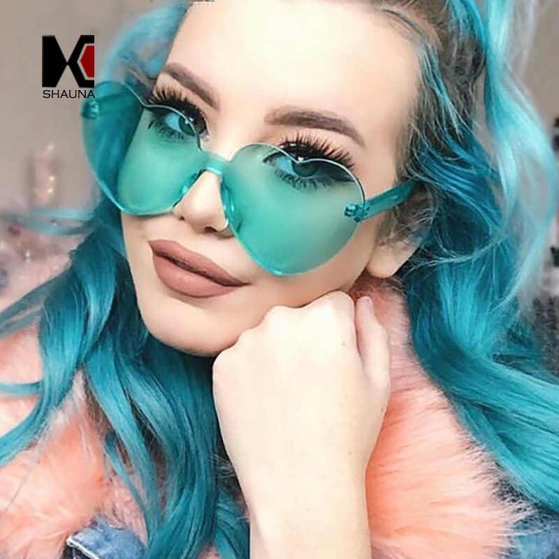 81689a49ee914 SHAUNA Oversize Cute Candy Color Women Heart Sharp Sunglasses Fashion Thick  Lens Shades UV400