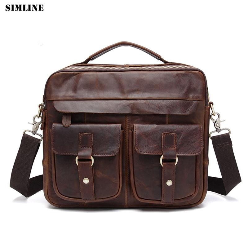 купить SIMLINE Vintage Casual Genuine Leather Men Handbag Crazy Horse Cowhide Messenger Shoulder Crossbody Bag Laptop Bags Breifcase по цене 4929.82 рублей