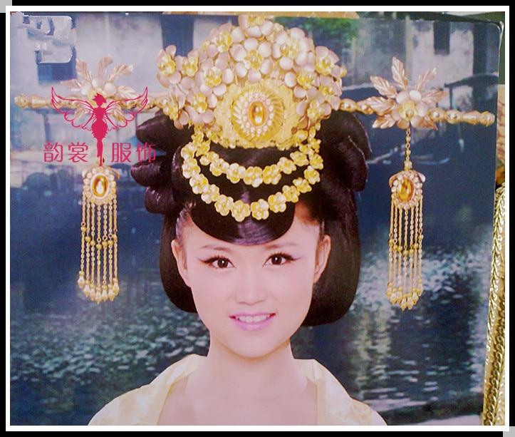 Women's Hair Tiaras Hanfu Costume Hair Accessory 00009 red gold bride wedding hair tiaras ancient chinese empress hair piece