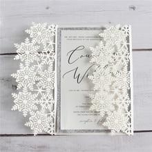 Elegant snowflake wedding invitations ivory shimmer marriage engagement invitation customizable
