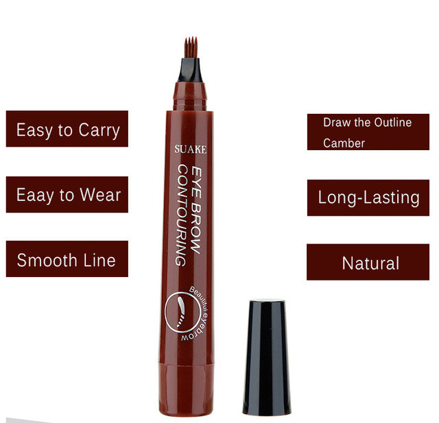 SUAKE Liquid Eyebrow Pencil Waterproof Microblading Fork Tip Fine Sketch Professional Eye Brow Tattoo Tint Pen Korean Cosmetics 4