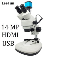 14MP 7X 45X Digital Trinocular Zoom Illuminated Stereo Microscope HDMI USB Camera for Phone Repairing Electronic PCB Inspection