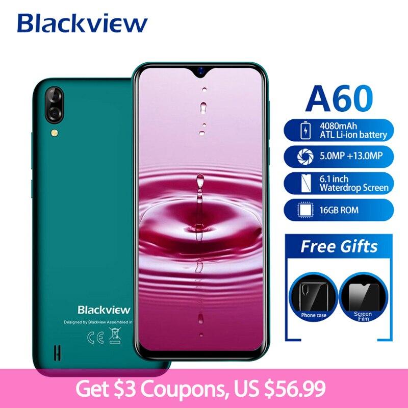 Blackview A60 4080mAh Smartphones 19:9 6.1 16 1 Polegada Android 8.1 GB de RAM GB ROM Dual Sim Quad Core câmera 13MP + 5MP 3 Telefone Móvel G