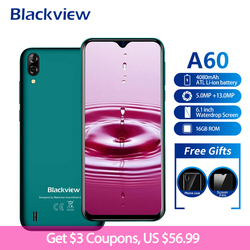 Blackview A60 Smartphone 4080mAh 19:9 6.1 Inch Android 8.1 1GB RAM 16GB ROM Dual Sim Quad Core 13MP+5MP Camera 3G Mobile Phone