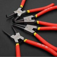 free ship news 7 inch Professional circlip pliers kit straight snap ring 90 degree bent nipper DIY hand tools