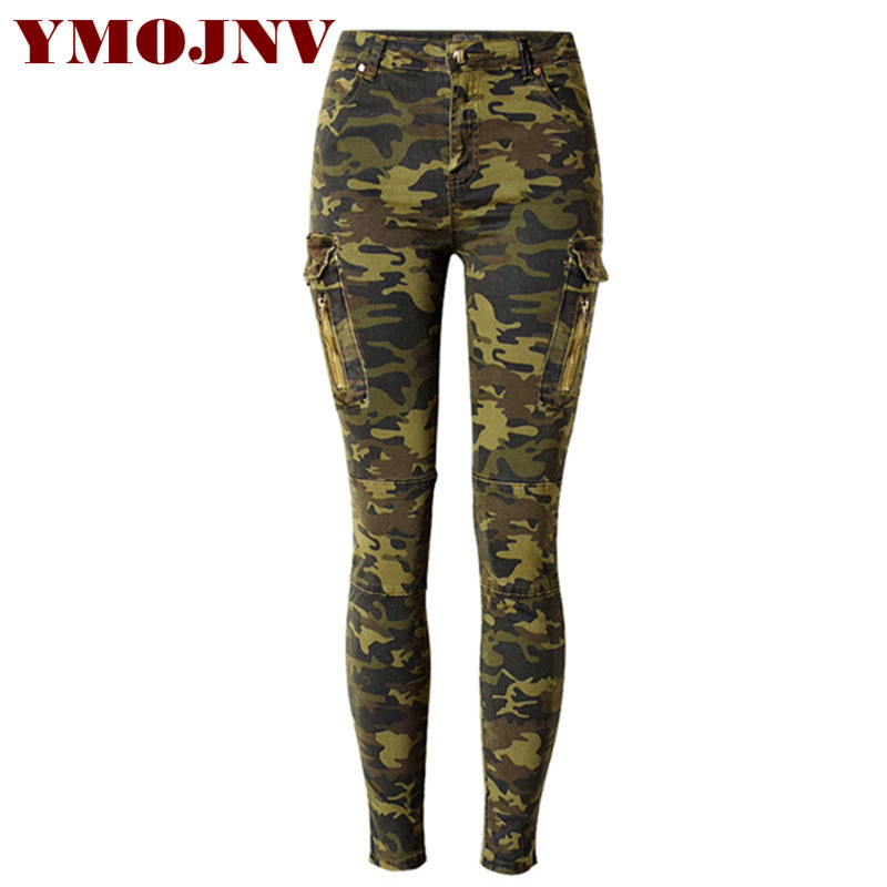 YMOJNV Women Skinny Jeans 2017 Women's Cowboy Pants Cargo Pockets Camouflage  Print Mid-waist Military - Popular Camouflage Skinny Jeans For Women-Buy Cheap Camouflage