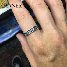 Canner Moon Phase Cycle Rings Fashion Silver Stainless Steel Ring Astronomical Astrology Leisure Jewelry For Men