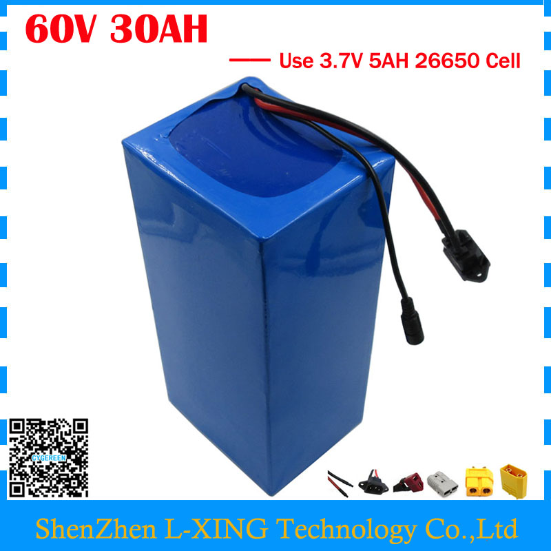 Free customs duty 60V 30AH Lithium battery 60V 30AH ebike Battery 60V Scooter battery use 3.7V 5AH 26650 cell 50A BMS
