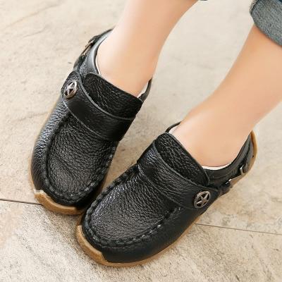 Children Performance Shoes Top Genuine Leather Boys Shoes Fashion Hook & Loop For Toddler & Littler & Big Kids Size 21-37