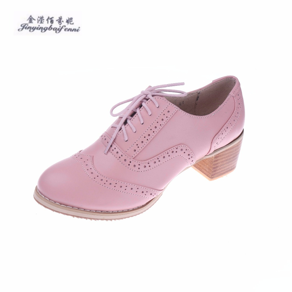 Top Selling 2018 Womens Shoes Fashion Women Pumps Genuine Leather High Heels Square Heel Lace Design