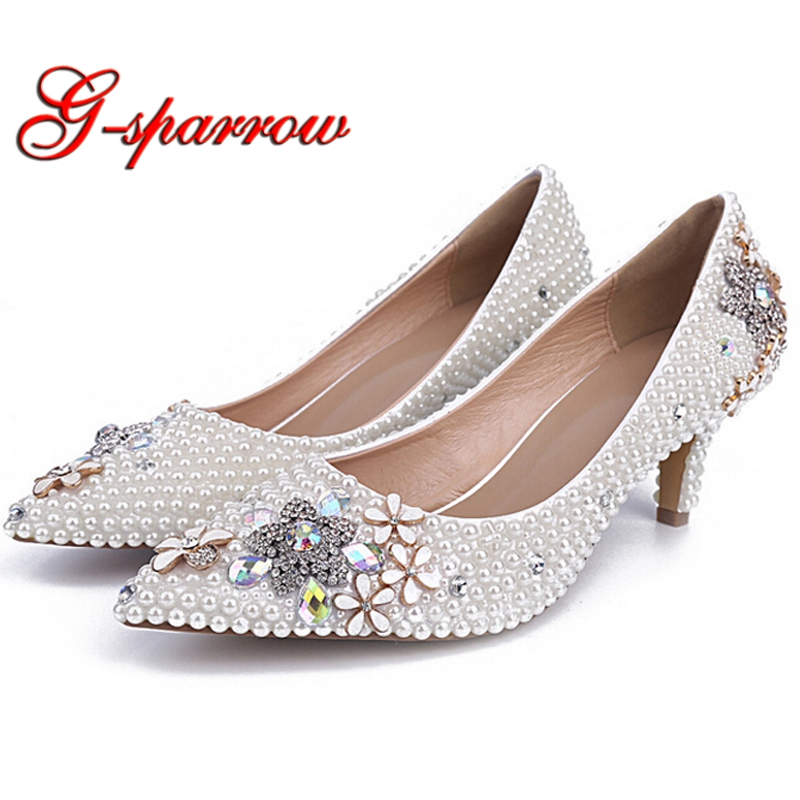 Pointed Toes Rhinestone Lower Thin Heel Wedding Bridal Shoes White Pearl Beautiful Party Prom Shoes Mother of the Bride Shoes white pearl mother of the bride shoes with red bowtie wedding party prom high heels cinderella event shoes bridal pumps