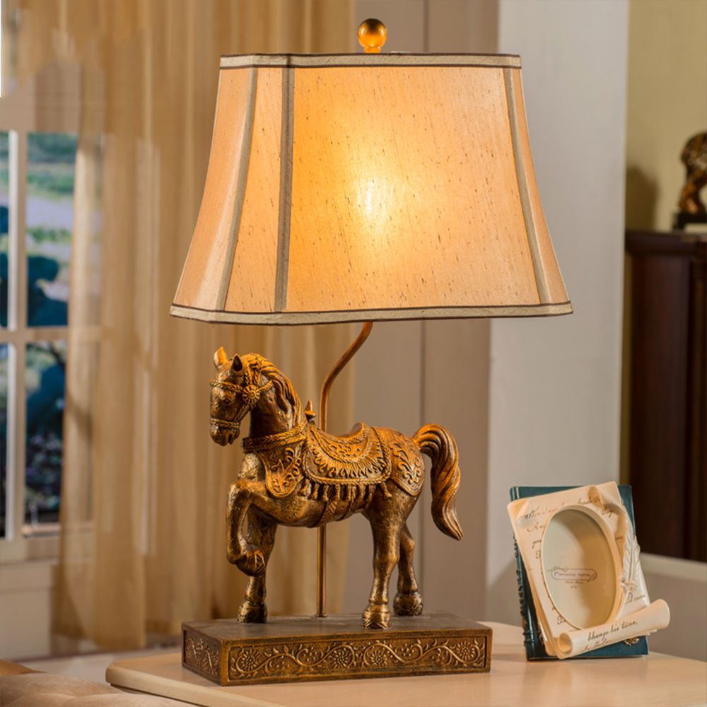 New Classical Chinese Study Lamp Living Room European Style Retro Luxury Horse American Country