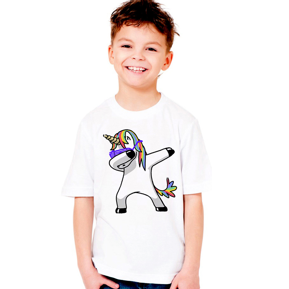 2018 Dabbing Unicorn Kids T Shirt Children Boys Girls Tops Tees Horse T-shirt Toddler Funny Tshirt Baby Summer Clothes Hip Hop 2018 new parkour kids t shirt fashion boys girls t shirt free run style children summer tops cool tees teens hip hop streetwear
