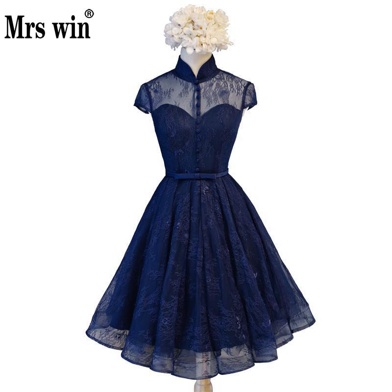 Evening     Dress   2018 The Banquet Simple Style Elelgant High Neck Ball Gown Short Sleeve Vintage Party Prom Formal   Dress