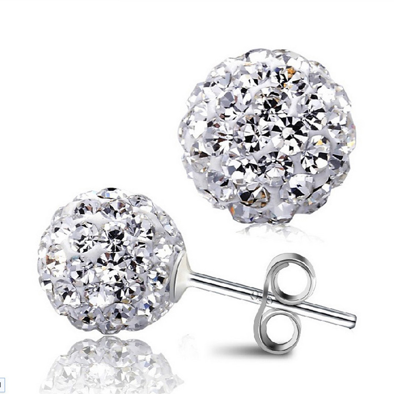 Wholesale Jewelry Silver Plated Plated Full Crystal Ball Shape Ear Stud Earrings Ear Ring Pendant ED03-6mm
