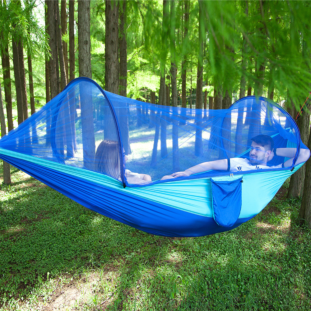 Two-person Parachute Cloth Hammock Camping Whole Set Automatic Quick Opening Mosquito Net Hanging Chair Outdoor Furniture Swings