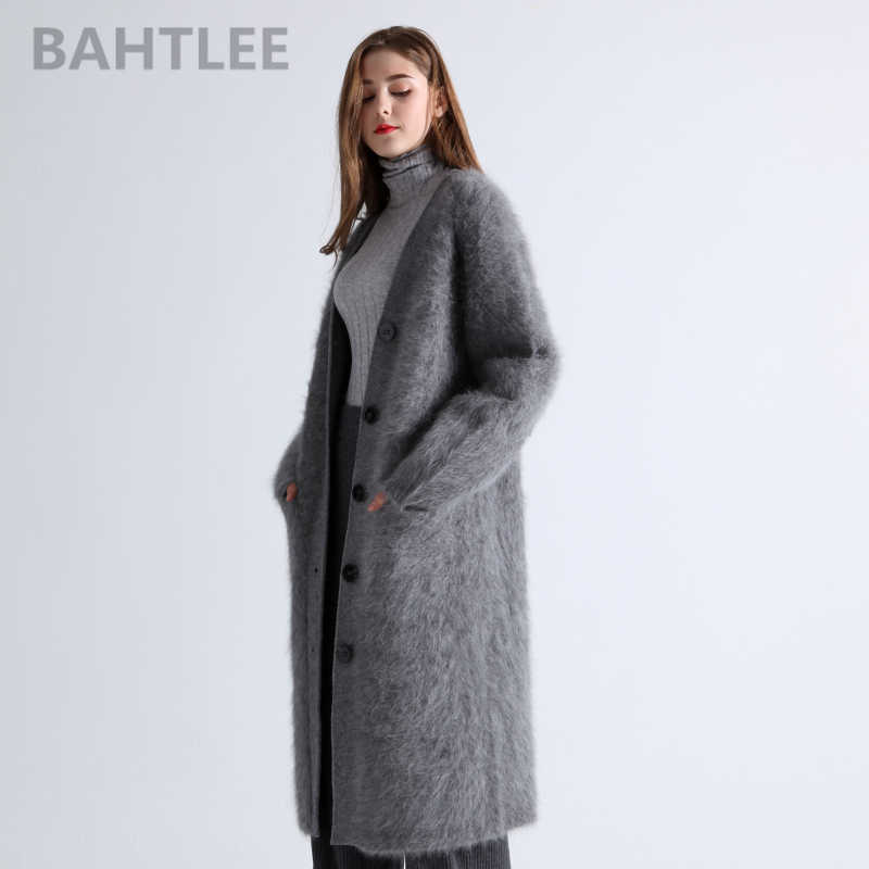 BAHTLEE winter wool knitted women's angora long cardigans sweater mink cashmere V-neck button pocket thick keep warm