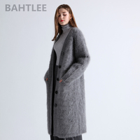 BAHTLEE 2019 winter wool knitted women's angora long cardigans sweater mink cashmere V neck button pocket thick keep warm