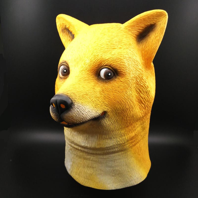 Cosplay Halloween Costume Golden Dog Head Full Face Adult Mask Breathable Masquerade Party Funny Head Doge 3D Latex Mask in Boys Costume Accessories from Novelty Special Use