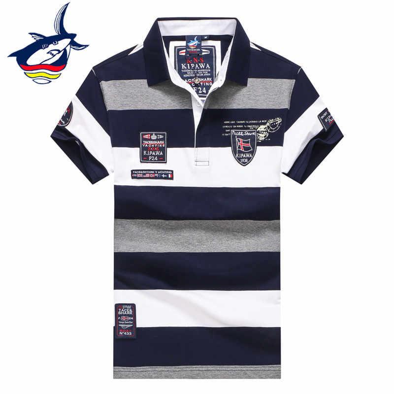8c0158836f3f Новые модные летние топы мужская одежда 2018 Хлопок Полосатая Футболка  homme бренд tace Shark бренд футболка