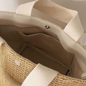 Image 4 - NEW Capacity Straw Bags Women Handmade Woven Basket Bolsa Tote Summer Bohemian Beach Bags Luxury Brand canvas Lady Handbags