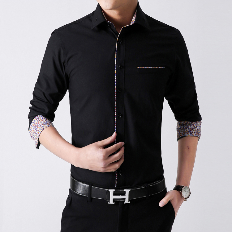 2015 men shirts men's casual fashion long sleeved solid color slim ...