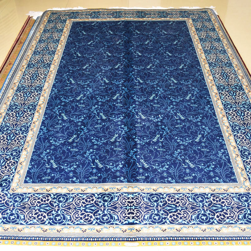 mingxin carpet 5x8 feet blue flower exquisite handmade silk carpets medal turkish silk for bedroom area rug